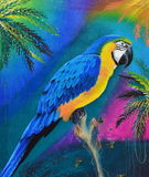 Ara sur la peinture à l'huile en bois de rondin sur la toile Image stock