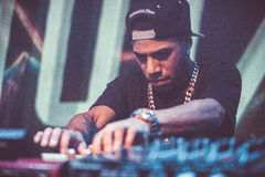 Araabmuzik concert in Moscow. Famous hip-hop producer Abraham Orellana aka Araabmuzik playing live concert in Moscow, Russia on 7 March 2015 royalty free stock image