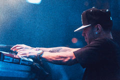 Araabmuzik concert in Moscow. Famous hip-hop producer Abraham Orellana aka Araabmuzik playing live concert in Moscow, Russia on 7 March 2015 stock image