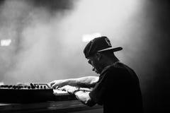 Araabmuzik concert in Moscow. Famous hip-hop producer Abraham Orellana aka Araabmuzik playing live concert in Moscow, Russia on 7 March 2015 royalty free stock photos