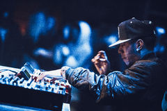 Araabmuzik concert in Moscow. Famous hip-hop producer Abraham Orellana aka Araabmuzik playing live concert in Moscow, Russia on 7 March 2015 royalty free stock images