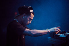 Araabmuzik concert in Moscow. Famous hip-hop producer Abraham Orellana aka Araabmuzik playing live concert in Moscow, Russia on 7 March 2015 royalty free stock photography