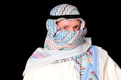 Arab. Portrait of an elder arab isolated on black Royalty Free Stock Image