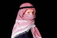 Arab. Portrait of an elder arab isolated on black Stock Photos