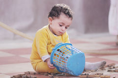 Arab african baby girl playing Royalty Free Stock Images