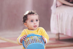 Arab african baby girl playing Royalty Free Stock Photography