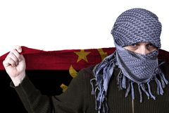 Arab with Angola flag. Arab holds Angola flag in his hands royalty free stock photo