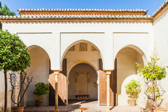 Arab archs. Facade of muslim palace in Malaga city. (Spain Royalty Free Stock Photography