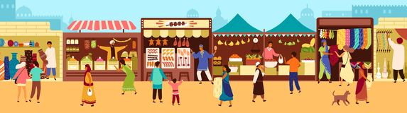 Arab or Asian outdoor street market, souk or bazaar. People walking along stalls, buying fruits, meat, traditional royalty free illustration