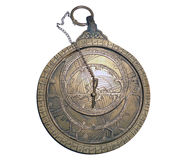 Arab astrolabe isolates on white Stock Images