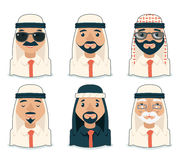 Arab Avatars Businessman Cartoon Design Character Icons Set  Vector Illustration Stock Images