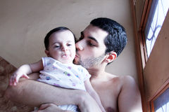 Arab baby girl with father Stock Image