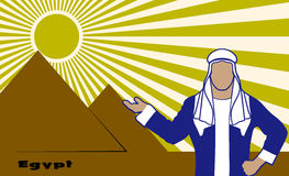 Arab in the background of Egyptian pyramids Stock Images