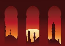 Arab Balcony. View islamic skyline Royalty Free Stock Photos