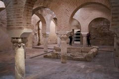 Arab baths of Jaen Andalusia Spain. The Arab baths of the city of Jaén in Andalusia, southern Spain. It is one of the best tourist places to see and visit on Stock Image