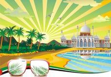 Arab beach. Arabic Palace on the coast. Royalty Free Stock Photos