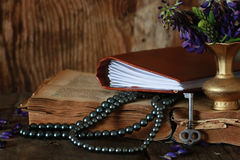 Arab book and flower. Various vintage elements on old worn backgrounds different concepts Stock Photography