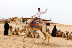 Arab boy rolls tourists on a camel. Royalty Free Stock Photos