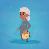 Arab Boy School Pupil Holding Backpack Small Cartoon Muslim Male Student. Flat Vector Illustration Stock Images