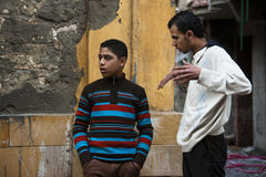 Arab boys talking in the street Royalty Free Stock Images