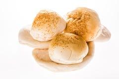 Arab bread and hamburger isolated on white background Stock Photos