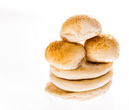 Arab bread and hamburger isolated on white background Royalty Free Stock Photos