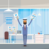 Arab Business Man Hold Hands Up Raised Arms With Paper Documents, Muslim Businessman Modern Office Royalty Free Stock Photos
