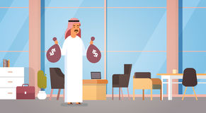 Arab Business Man Holding Money Bags Rich Entrepreneur In Modern Office. Flat Vector Illustration Royalty Free Stock Photography