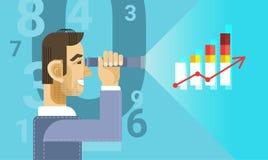 Arab Business Man Looking Binocular To Finance Chart Graph Report. Vector Illustration Stock Image