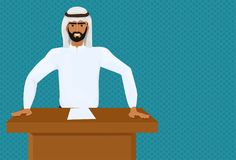 Arab Business Man Or Politician Leading Speech On Conference Or Meeting Presentation Standing At Tribune Royalty Free Stock Photo