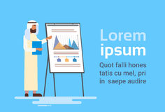 Arab Business Man Presentation Flip Chart Finance, Arabic Businessman Training Conference Stock Image