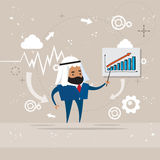 Arab Business Man Showing Finance Chart Graph Report. Vector Illustration Royalty Free Stock Image