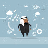 Arab Business Man Showing Finance Chart Graph Report. Vector Illustration Royalty Free Stock Photos