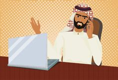 Arab Business Man In Traditional Clothes Working At Laptop Computer Talk On Phone Over Retro Comic Background. Vector Illustration Royalty Free Stock Photos