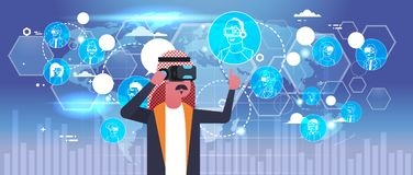 Arab Business Man Wearing 3d Glasses Virtual Reality Headset Over World Map Background. Flat Vector Illustration Stock Photos
