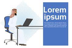 Arab Business Man Working At Laptop Computer Sit At Office Desk. Vector Illustration Royalty Free Stock Photo