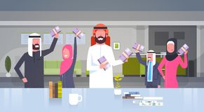 Arab Business People Group Holding Stacks Of Money Euro Businesspeople Muslim Team Of Winner Finance Success Concept. Flat Vector Illustration Royalty Free Stock Photo