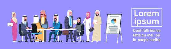 Arab Business People Group Meeting Presentation Flip Chart With Finance Data, Muslim Businesspeople Team Training. Brainstorming Flat Vector Illustration Stock Photos