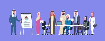 Arab Business People Group Meeting Presentation Flip Chart With Finance Data, Muslim Businesspeople Team Training. Conference Flat Vector Illustration Royalty Free Stock Photo
