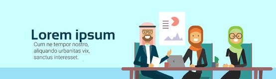 Arab business people group presentation finance data, arabic businesspeople team training conference muslim meeting. Banner with copy space flat vector Stock Image
