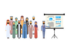Arab Business People Group Presentation Flip Chart Finance, Arabic Businesspeople Team Training Conference Muslim. Meeting Flat Vector Illustration Royalty Free Stock Photos