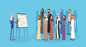 Arab Business People Group Presentation Flip Chart Finance, Arabic Businesspeople Team Training Conference Muslim. Meeting Flat Vector Illustration Royalty Free Stock Images