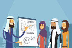 Arab Business People Group Presentation Flip Chart Finance, Arabic Businesspeople Team Training Conference Muslim. Meeting Flat Vector Illustration Royalty Free Stock Photography