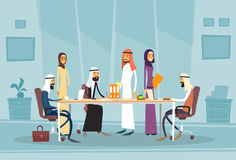 Arab Business People Meeting Discussing Office Desk Muslim Arabic  Businesspeople Working Royalty Free Stock Photos