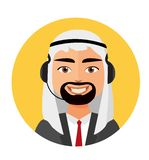 Call center arab man operator with headset icon client services phone assistance vector illustration. Eps 10 royalty free illustration