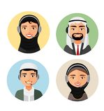 Call center operator with headset arab people icon and client services customer support phone vector arab man and woman. Call center operator with headset arab stock illustration