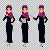 Arab Business Woman Character In Different Poses On Transparent Background. Woman Is Standing And Working On Tablet. Royalty Free Stock Photo