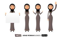 Arab business woman holding sign or banner waving her hand thumb up isolated on white background vector. Eps 10 stock illustration