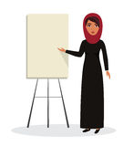Arab business woman, teacher profession. Muslim businesswoman wearing hijab. Vector character illustration Stock Photos