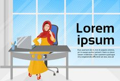 Arab Business Woman Working At Laptop Computer Sit At Office Desk. Vector Illustration Stock Photo